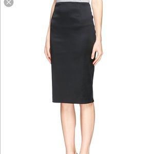 St. John Skirt Black Satin Below Knee Straight